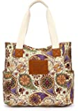 Malirona Canvas Beach Bags and Totes for Women Zippered Beach Shoulder Bag (Yellow Flower)
