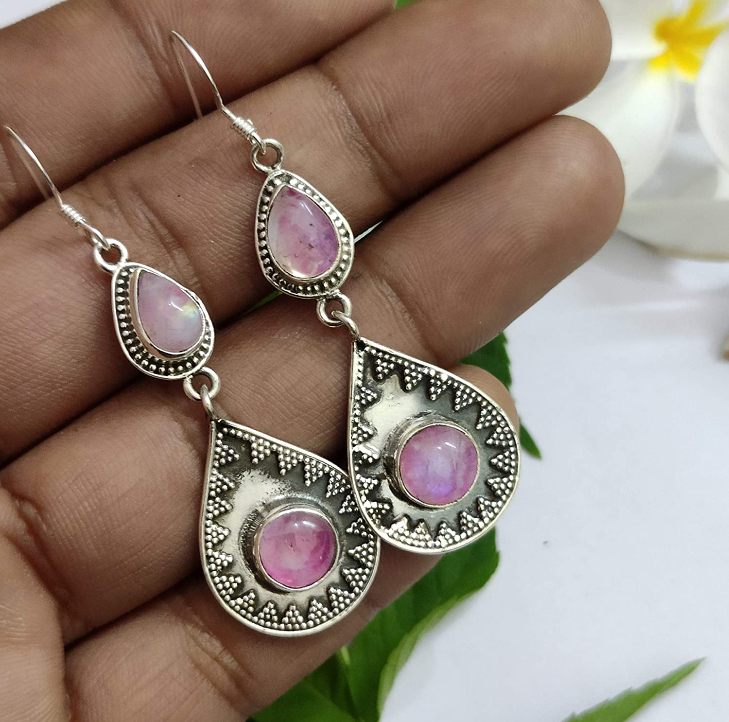 two pairs pink and lila dangle earrings Vintage silver