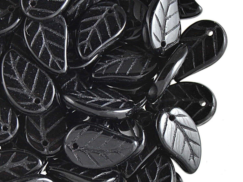 20pcs 9x14mm Leaves Pressed Glass Czech Beads, Opaque Jet Black Jablonex
