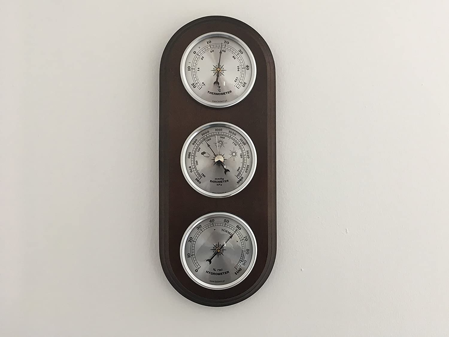 Traditional Weather Station Barometer Thermometer Hygrometer Silver Coloured Dials Quality Instrument Browin