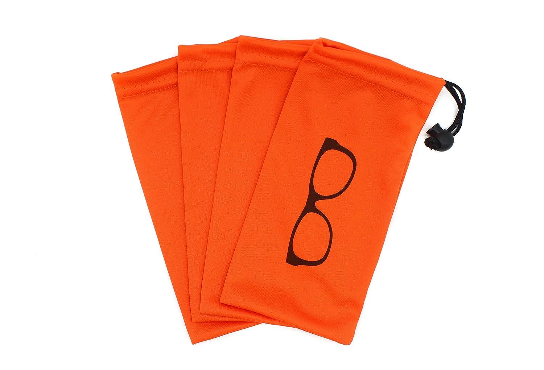 (4 PCS) Drawstring Microfiber Soft Eyeglasses Pouch With Bead Lock (Orange) Global Glasses Studio bag001