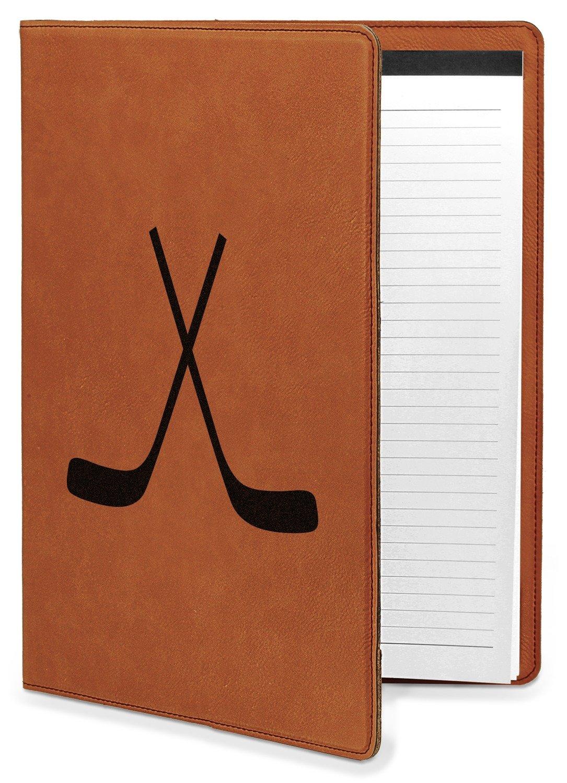 Hockey Leatherette Portfolio with Notepad - Large - Single Sided (Personalized)