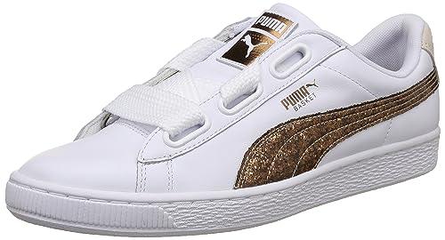f2014162433 Puma Women s Basket Heart Glitter Wn SWomen Rose Gold White Leather  Sneakers-3.5 UK