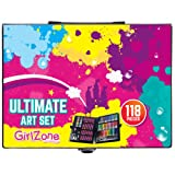 ULTIMATE ART SET FOR KIDS: Fun Christmas craft & art gift present set for children - 118 pieces - pens, crayons, oil pastels, paints, colouring pencils - Ideal for drawing, doodling, painting.