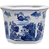 "Oriental Furniture 10"" Landscape Blue & White Porcelain Flower Pot"