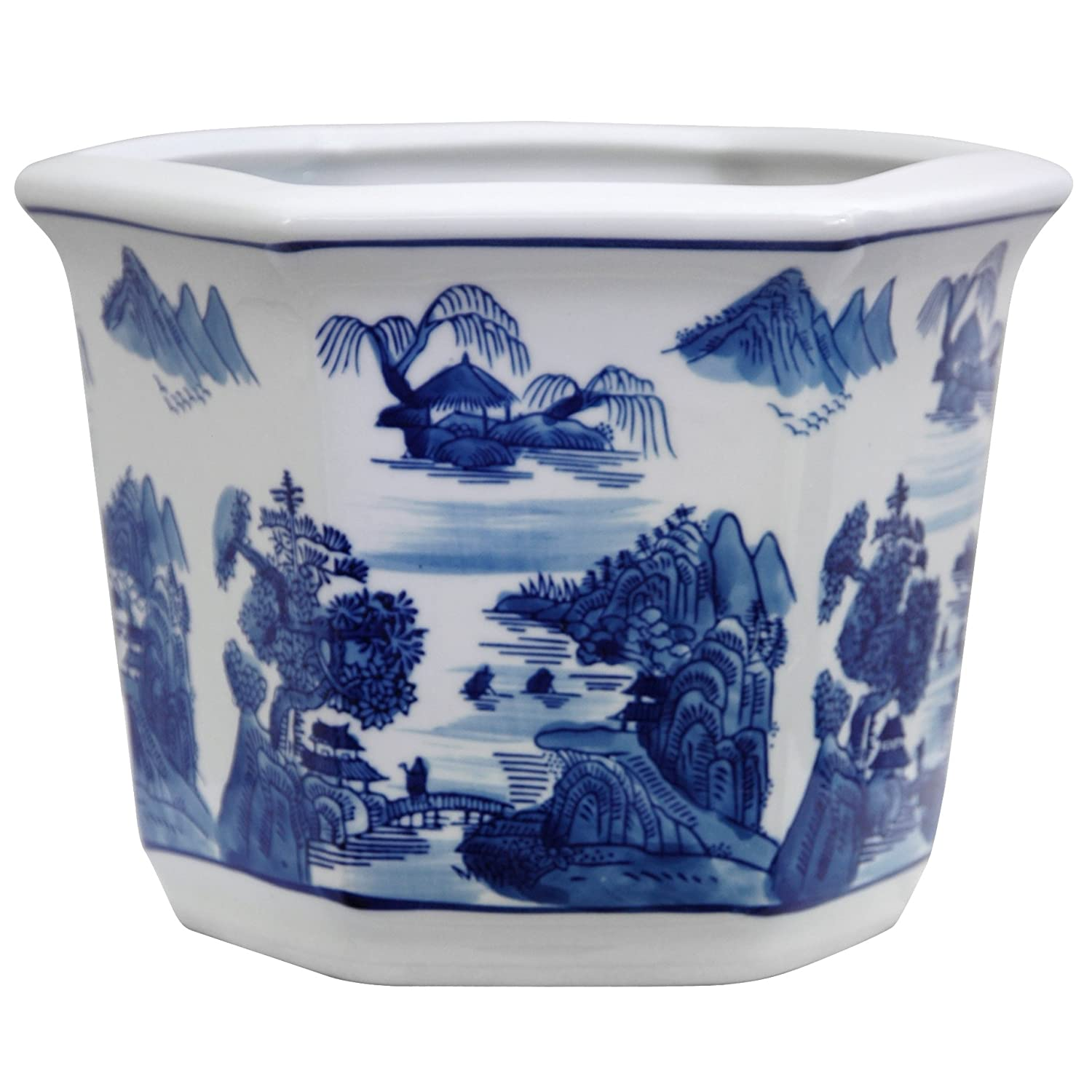 Oriental Furniture 10 Landscape Blue White Porcelain Flower Pot