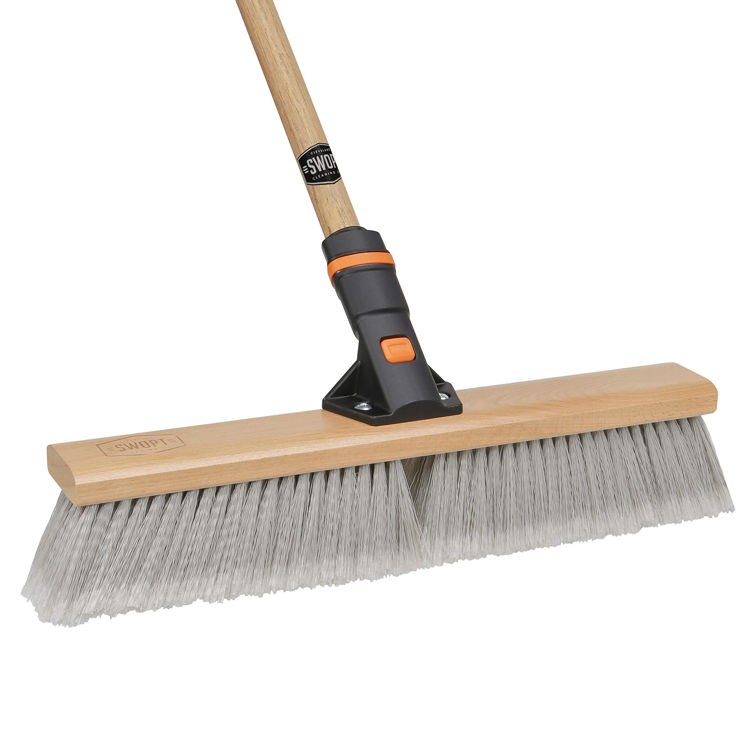 18'' SWOPT Smooth Surface Premium Push Broom - 60'' Comfort Grip Wooden Handle - Handle Interchangeable with All SWOPT Cleaning Heads - EVA Foam Comfort Grip - Great for Indoor Applications by Swopt