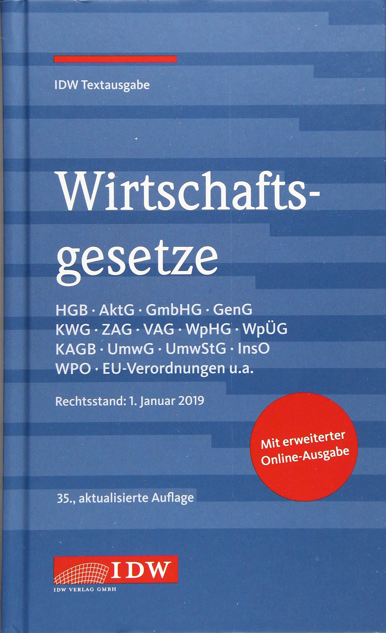 Wirtschaftsgesetze 35. Auflage  IDW Textausgabe
