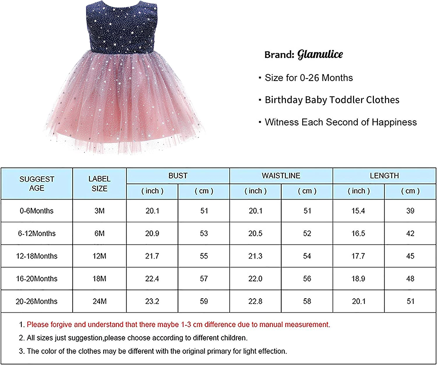 Glamulice Baby Flower Girls Sparkle Tulle Ombre Tutu Dress Baptism Christening Outfit Special Occasion Birthday Dresses
