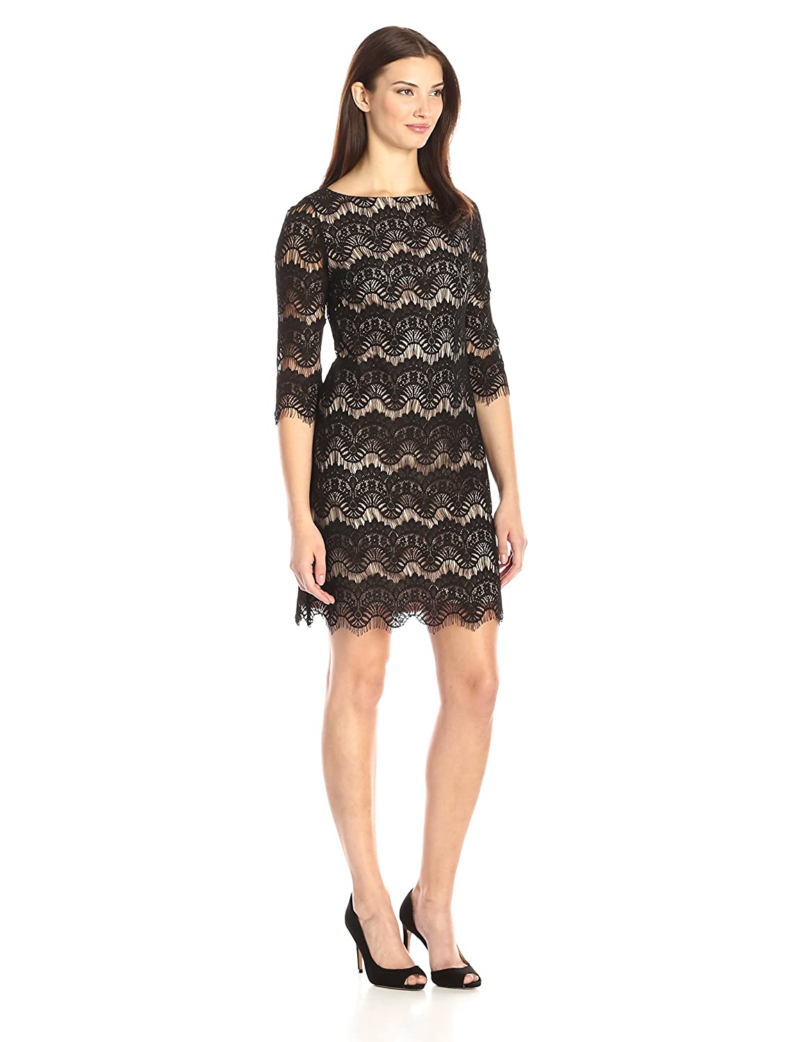 Amazon.com  Jessica Howard Women s Lace Shift Dress with Contrast Nude  Lining  Clothing 1ebc62626