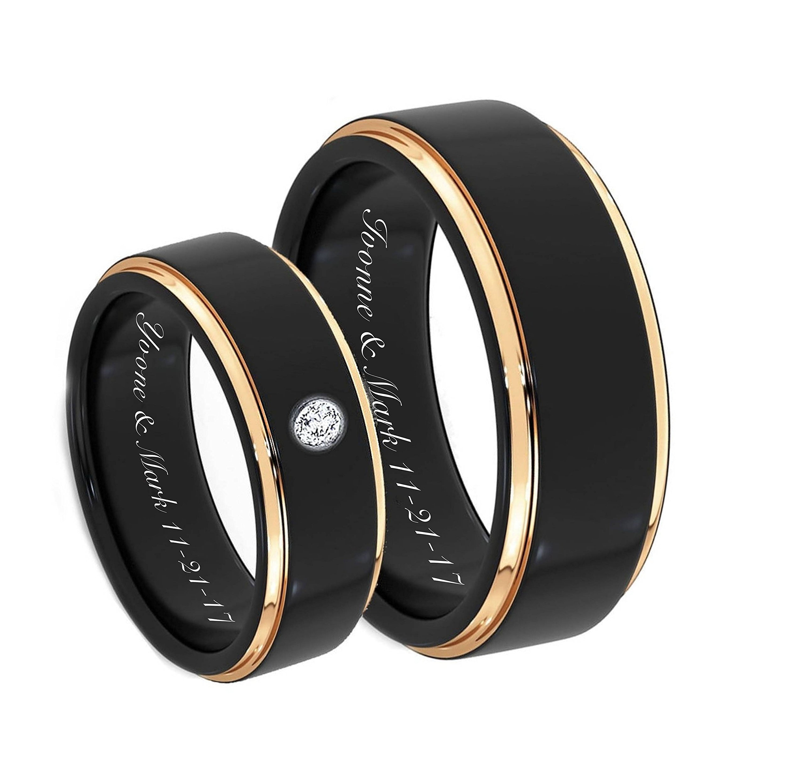 Personalized Stainless Steel Beveled Cut Couple's Ring Set Custom Engraved Free