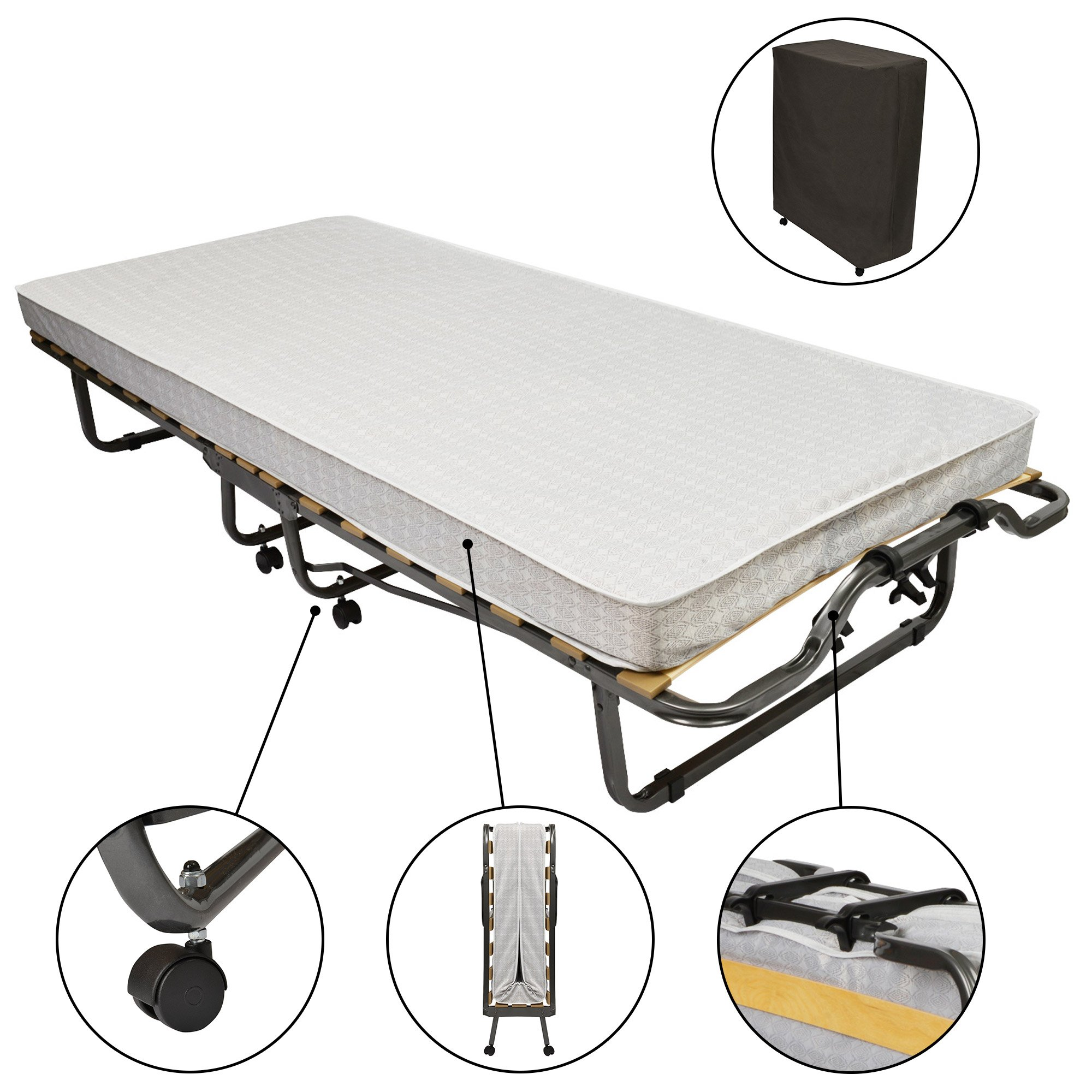 Beautissu Cama Plegable de Invitados Venetia - 90x200 cm - Estable Armadura de Metal - con