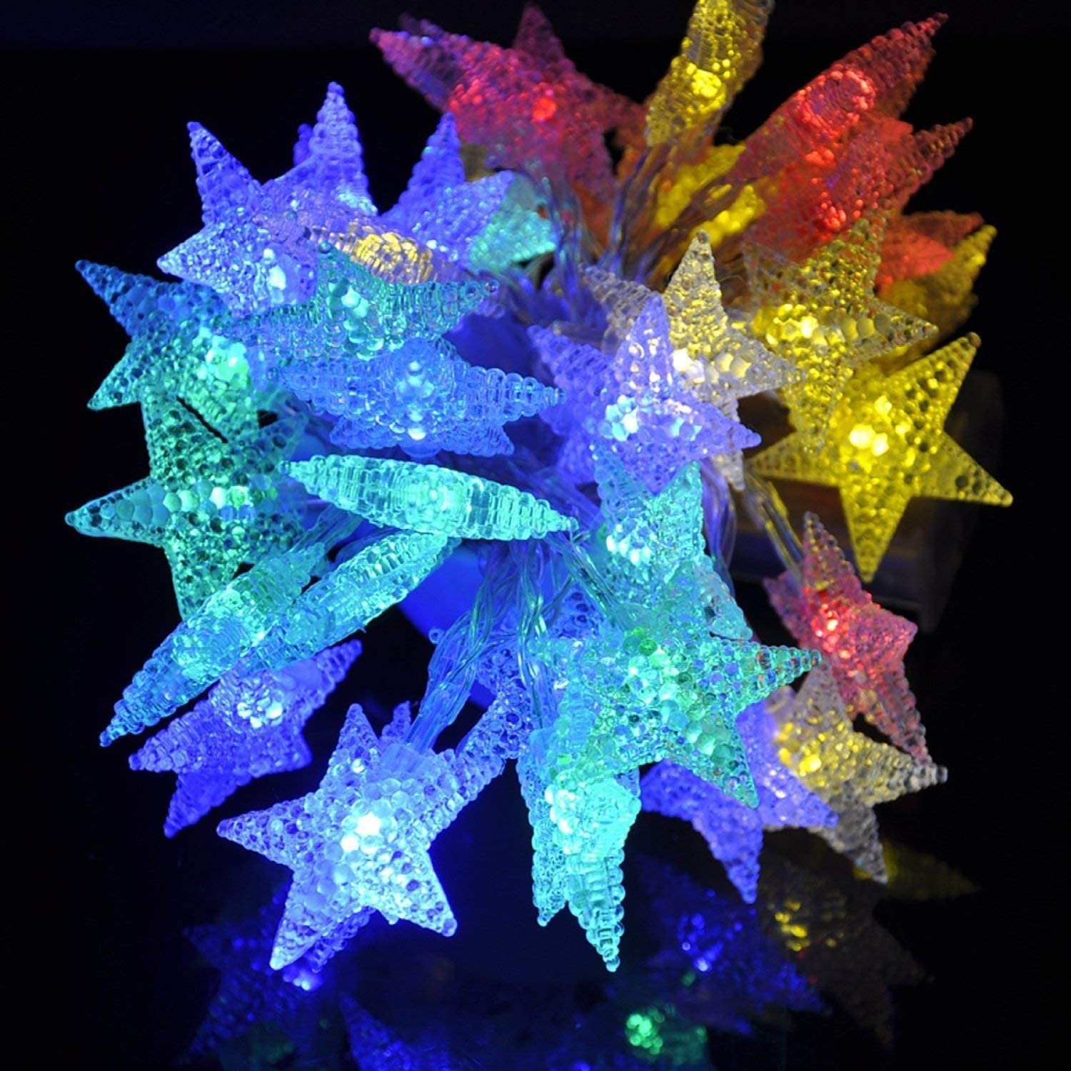 echosari 4M 40 LED Battery Powered Fairy String Light,Five-Pointed Star String Lights for Chrismas, Party, Wedding, New Year, Garden Décor (Multi-Color)