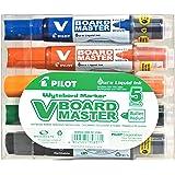 Pilot Begreen Recycled V Board Master Whiteboard Marker Bullet 6.0 mm Tip - Black/Red/Blue/Green/Orange, Wallet of 5