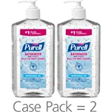PURELL Advanced Hand Sanitizer, Refreshing Gel, 20 fl oz Hand Sanitizer Table Top Pump Bottles (Pack of 2) - 3023-12-EC