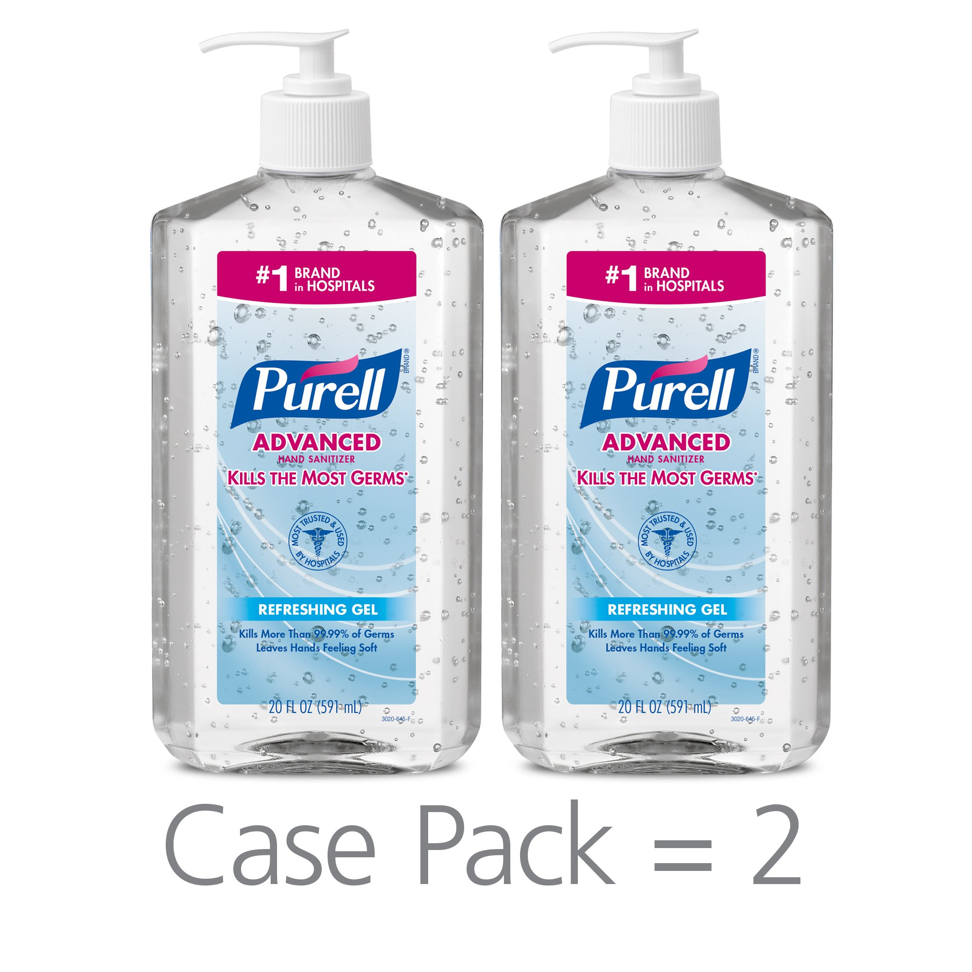 PURELL Advanced Hand Sanitizer, Refreshing Gel, 20 fl oz Hand Sanitizer Table Top Pump Bottles (Pack of 2) - 3023-12-EC by Purell