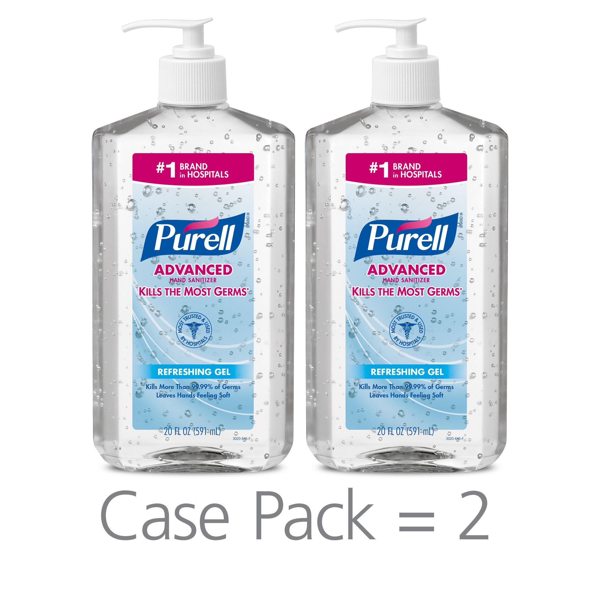 PURELL Advanced Hand Sanitizer, Refreshing Gel, 20 fl oz Hand Sanitizer Table Top Pump Bottles (Pack of 2) - 3023-12-EC by Purell