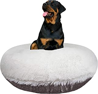product image for BESSIE AND BARNIE Signature Serenity Grey/Snow White Luxury Shag Extra Plush Faux Fur Bagel Pet/Dog Bed (Multiple Sizes)
