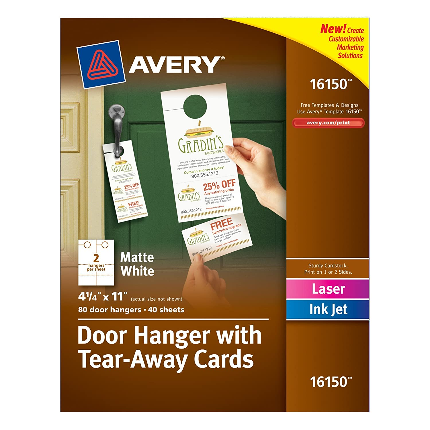 Door flyers cheap door hangers sc 1 st a printer 4u amazon avery door hanger with tear away cards matte white 425 x 11 inches pack of 80 16150 business card stock office products sc 1 st amazon magicingreecefo Image collections