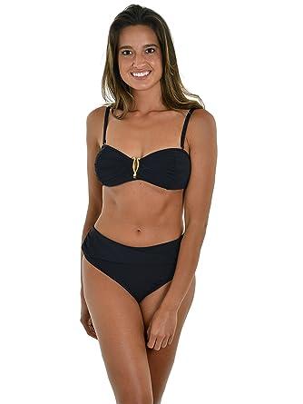 8bbcb632056 Amazon.com  Womens Black Bandeau Bikini Top High Waist Bathing Suit Two  Piece Swimsuit  Clothing