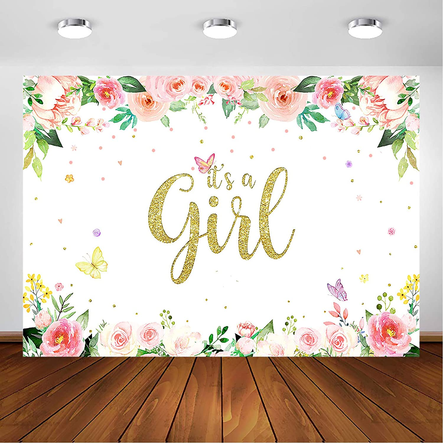 10x6.5ft Pastel Pink Girl Baby Shower Backdrop Polyester Warm Pink Polka Dot Cushion Plain Wooden Board Red Checked Cloth Rustic Yellow Plank Background Girl Newborn Artistic Portrait Shoot