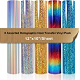 """Holographic Heat Transfer Vinyl Pack Bundle 5 Sheets 12x10"""" Iron on Vinyl for Cameo for DIY Shirt and Garment Decoration"""