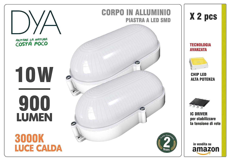 Juego de 2lámparas de techo ovales, luz cálida 3000K° IP65W lúmenes [Clase de eficiencia energética A+] DYA