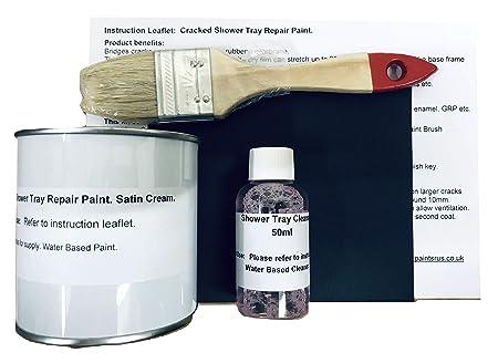 1 X Cracked Shower Tray Base Repair Paint Satin Cream Amazon Co