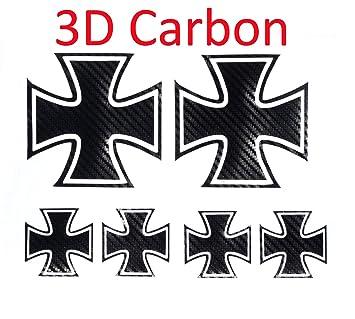 Eisernes Kreuz Eiserne Kreuz Iron Cross Autoaufkleber 10 X 10 Cm In 3d Carbon 6 Stück