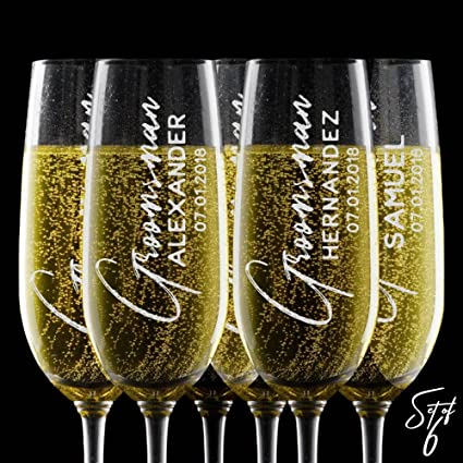 amazon com set of 6 personalized champagne flute glasses any