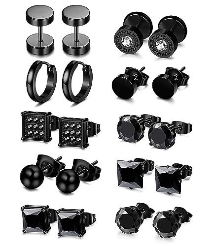 1781553b18 LOLIAS 10 Pairs Stainless Steel Black Stud Earrings for Men Women Ear  Piercing Set Hoop Huggie