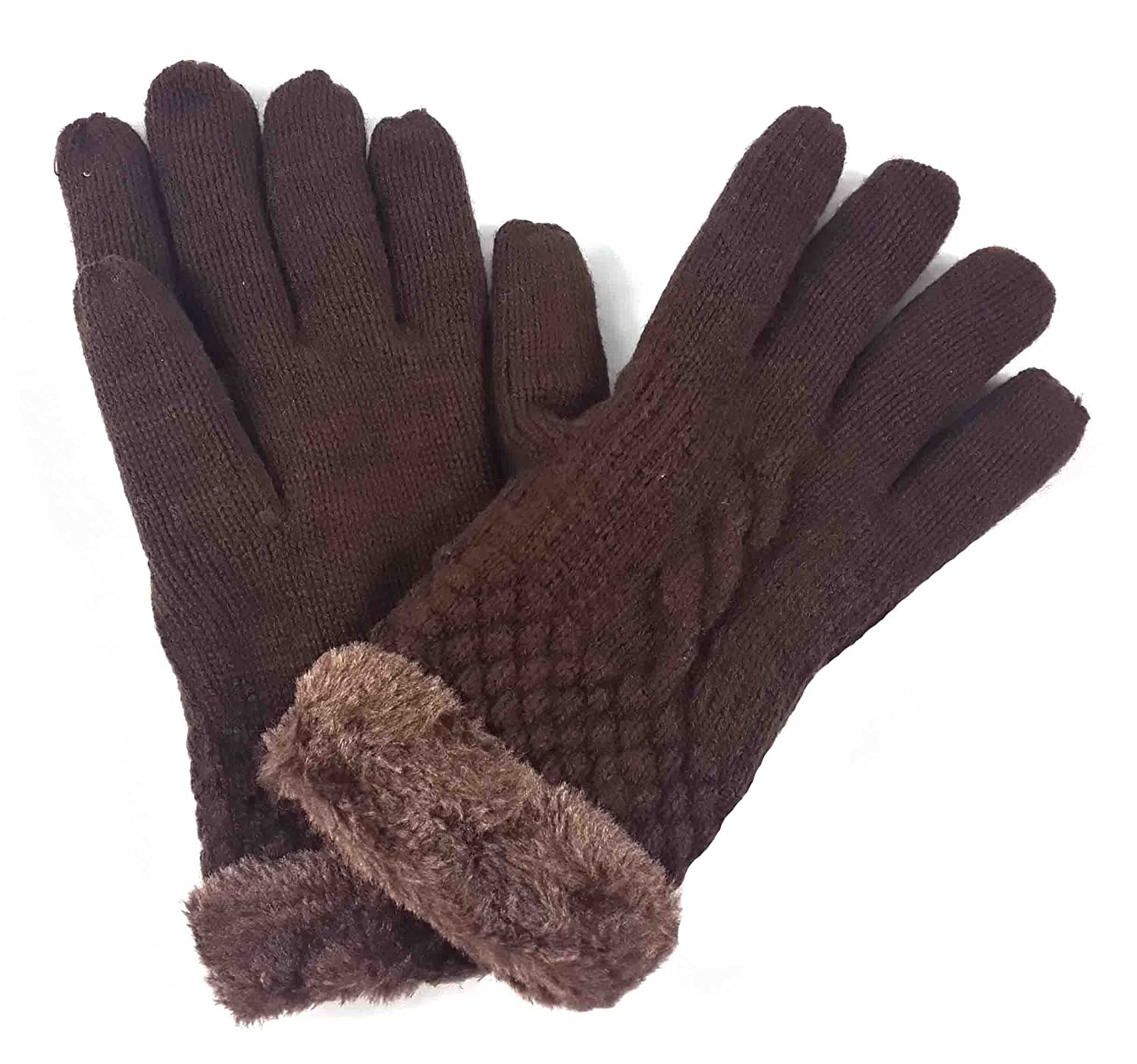 Lina & Lily Fashion Women's Winter Knitted Warm Gloves Faux Fur Trim (Black)