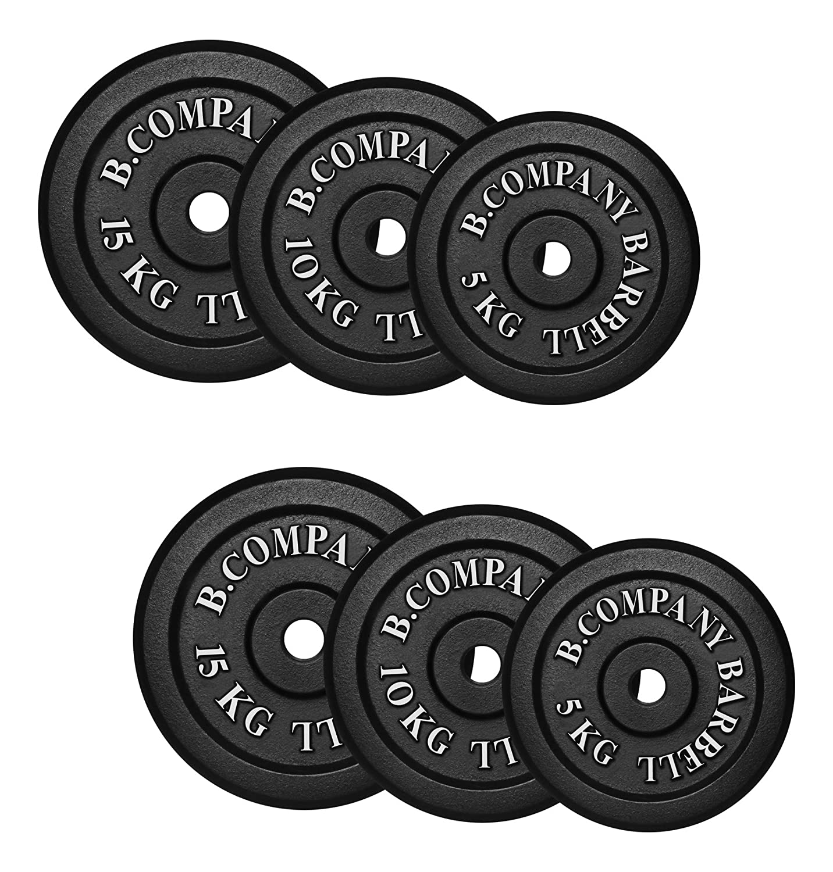 Bad Company I Hantelscheiben aus Gusseisen I Hantel Gewichte I 60 Kg (2 x 5 Kg, 2 x 10 Kg, 2 x 15 Kg), 30 31 mm