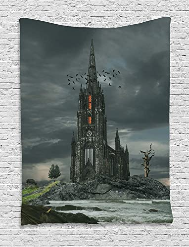 Ambesonne Gothic Tapestry, Mysterious Gothic Castle Edinburgh Darkness Dramatic Sky Clouds Bat Old Building, Wall Hanging for Bedroom Living Room Dorm Decor, 40 X 60 , Olive Green