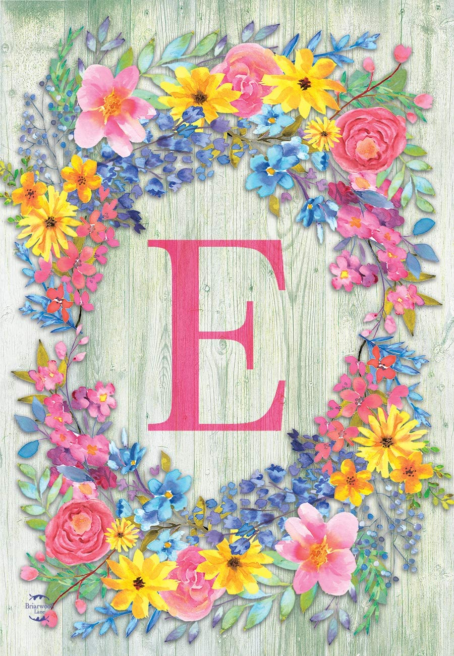 "Briarwood Lane Spring Monogram Letter E Garden Flag Floral Wreath 12.5"" x 18"""