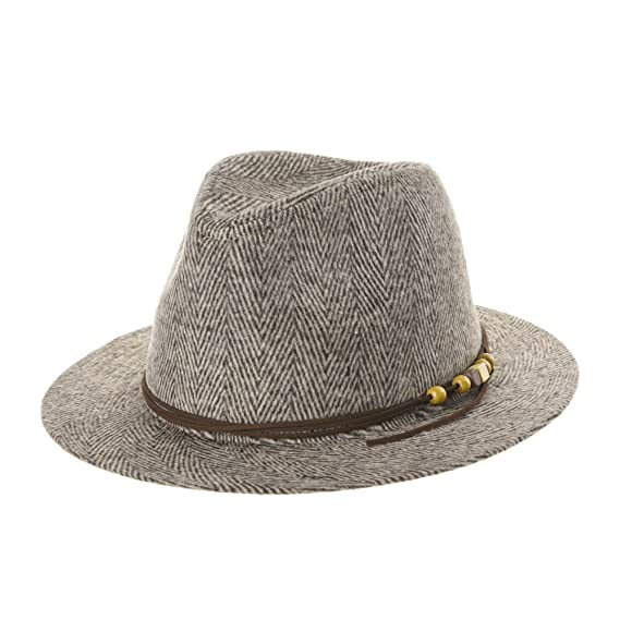 50d894060 WITHMOONS Wool Felt Fedora Panama Hat Faux Leather Band Wide Brim ...