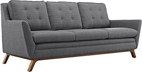 Modway Beguile Mid-Century Modern Sofa With Upholstered Fabric In Gray