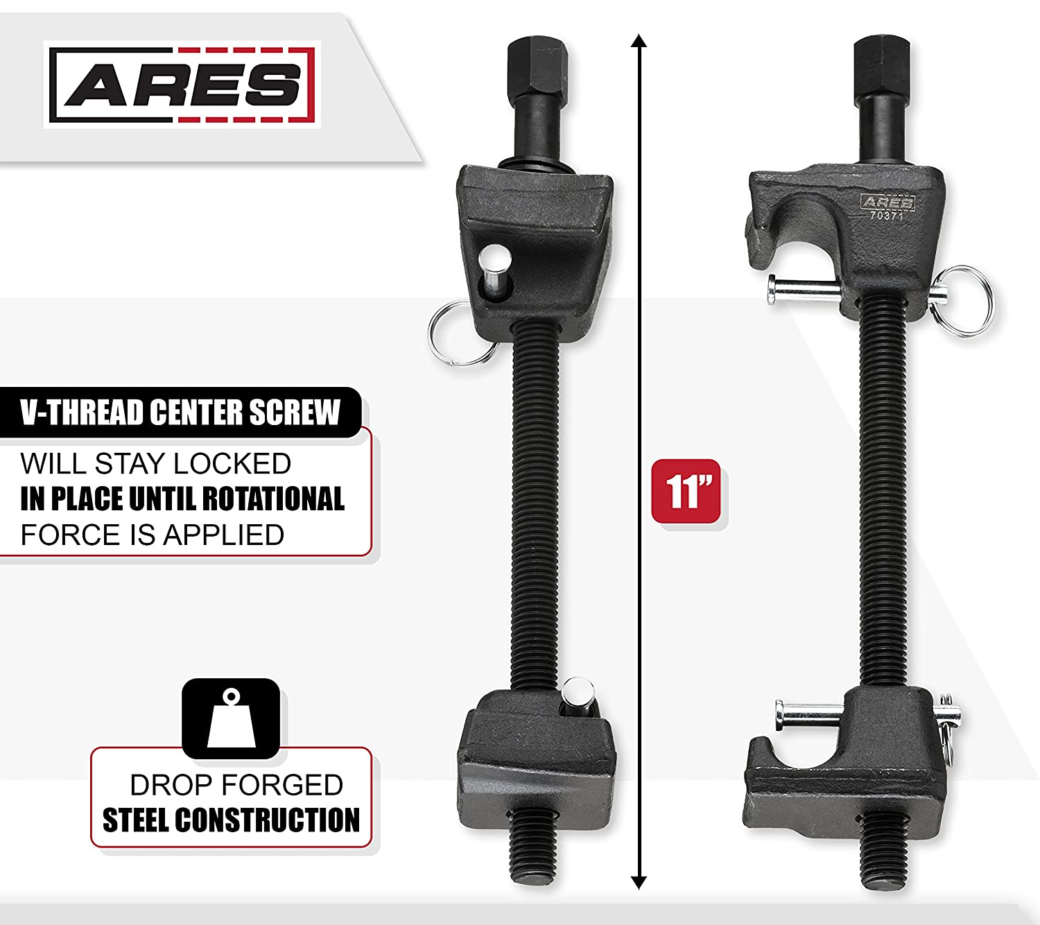 and Damaged Struts ARES 70371 for Repairs on Bent Struts Macpherson Strut Spring Compressor Strut Tubes Drop Forged Jaws with Safety Pins for Safe and Easy Compression