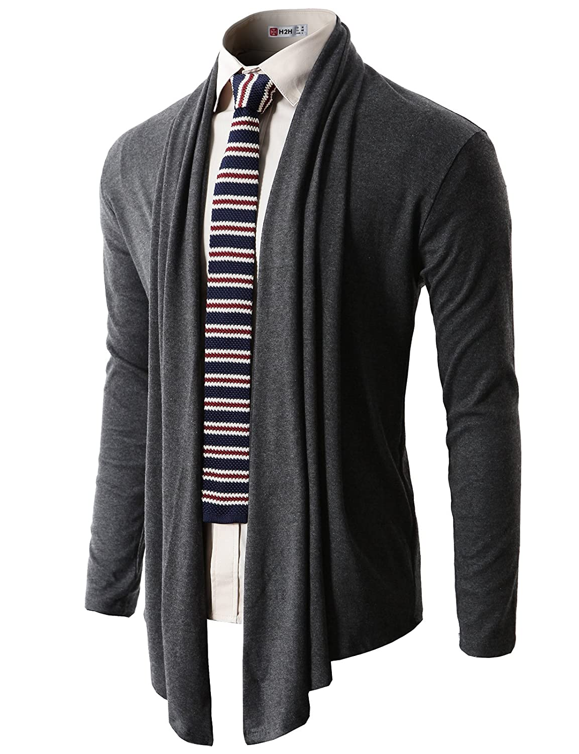 H2H Mens Casual Slim Fit Shawl Collar Open-Front Lightweight Long Cardigan