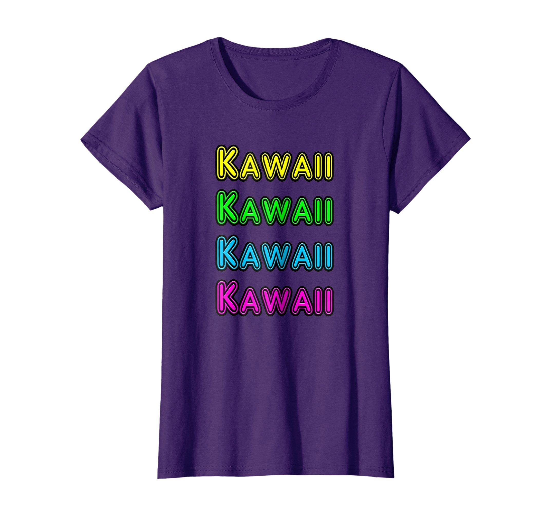 Womens Retro 80's Vintage Neon Anime Sign Kawaii Gift T-Shirt XL Purple