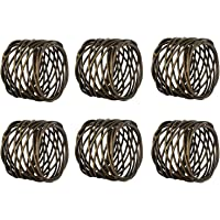Kaizen Casa Handmade Round Mesh Napkin Rings Holder for Dinning Table Parties Everyday, Set of 6 (Antique Brass)