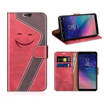 MOBESV Smiley Funda Cartera Samsung Galaxy A6 2018 Magnético, Funda Cuero Movil Samsung A6 2018 Carcasa Case con Billetera/Soporte para Samsung Galaxy ...
