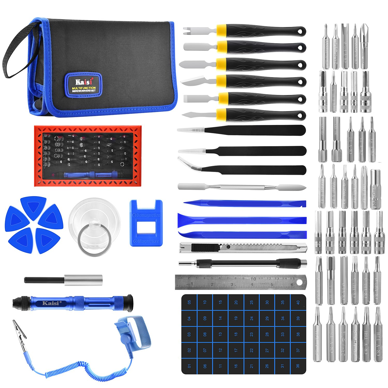 Kaisi 67 in 1 Precision Screwdriver Set with Magnetic Driver Kit, Professional Electronics Repair Tools Kit with Portable Bag for Repair Cell Phone, iPad, iPod, MacBook, Laptops, Computer and More by Kaisi