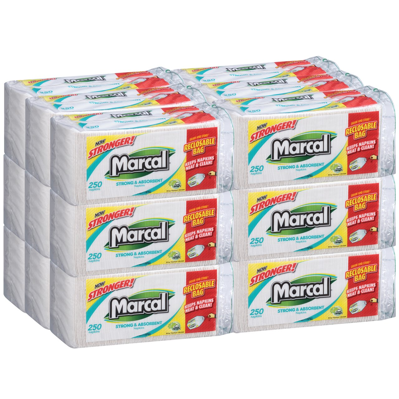 Marcal Napkins - 250 Napkins in a Resealable Drawstring Bag, 18 Packs per Case - Sustainable, Disposable Napkins are Great for Home or Office 03015