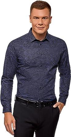 oodji Ultra Hombre Camisa de Algodón con Estampado Paisley: Amazon.es: Ropa y accesorios