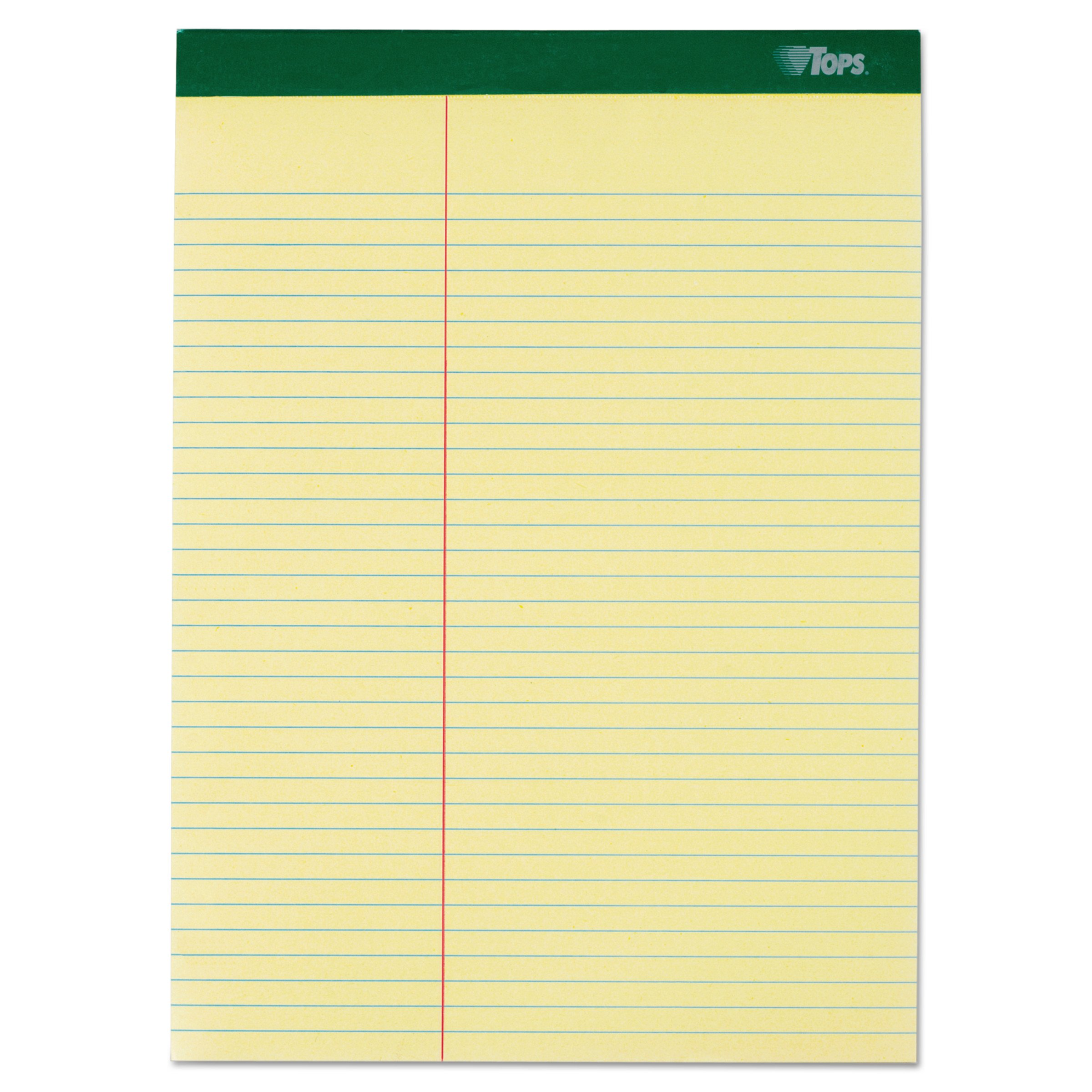 Double Docket Writing Tablet, 8-1/2'' X 11-3/4'', Perforated, Canary, Law Rule, 100 SH/PD, 6 PD/PK (63396)