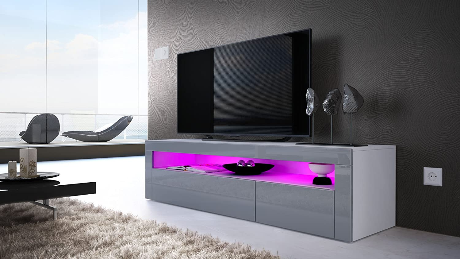 Tv Stand Unit Valencia Carcass In White Matt Front In Grey High  # Meuble Tv Gaming