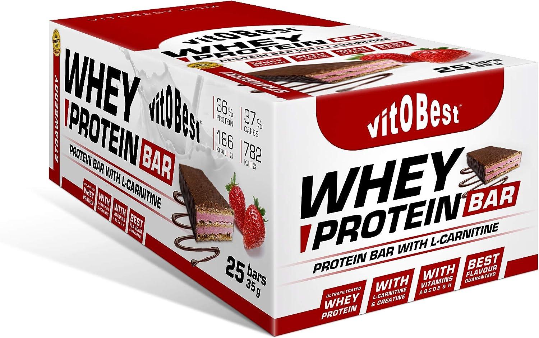 WHEY PROTEIN BAR 35 g FRESA (25 Uds.) - Suplementos Alimentación y Suplementos Deportivos - Vitobest