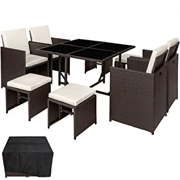 TecTake Conjunto muebles de jardín en ratán sintético comedor juego 4+4+1 + funda completa | tornillos de acero inoxidable - disponible en diferentes ...