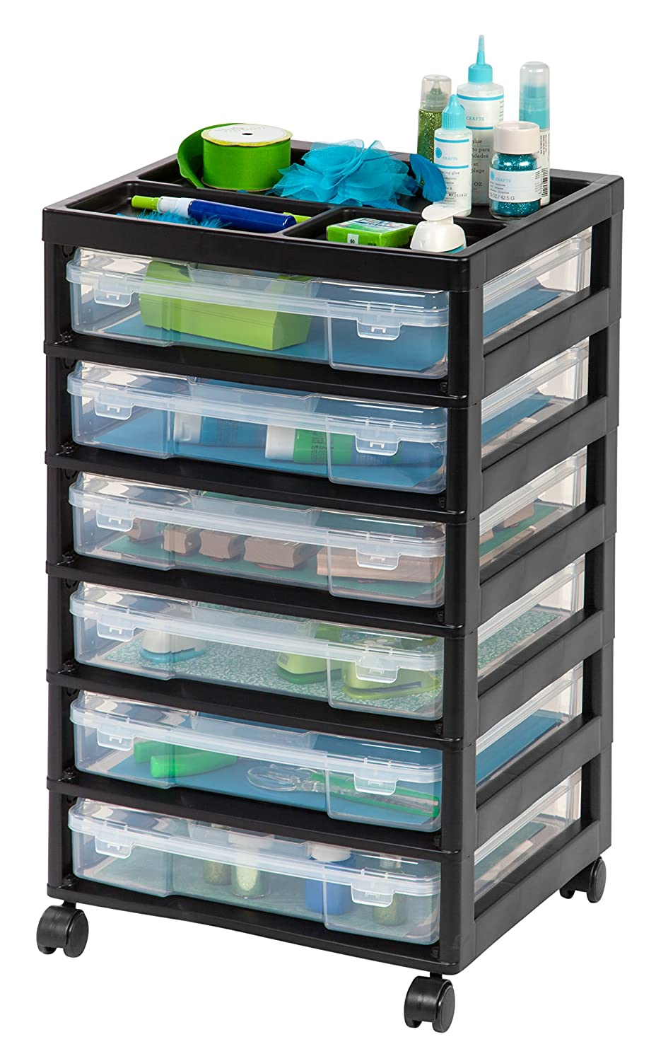 Amazon IRIS 6 Drawer Scrapbook Cart With Organizer Top Black